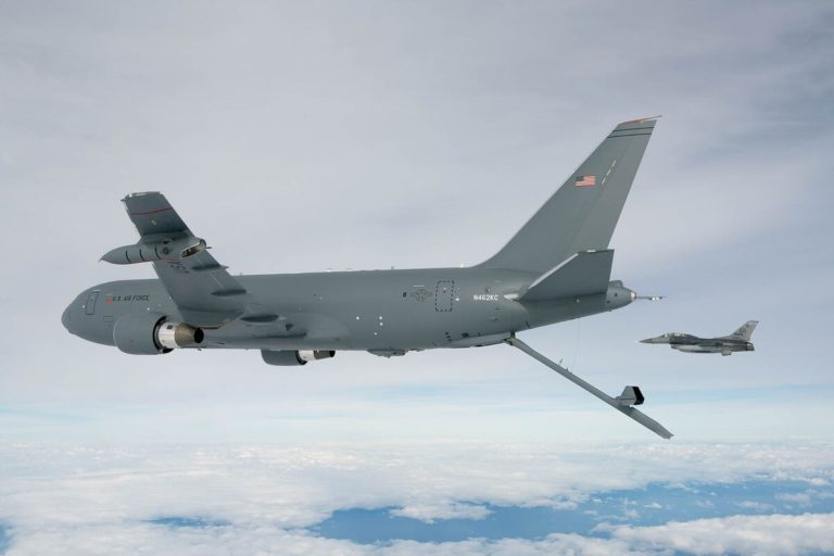 The KC-46A Pegasus deploys the centerline boom for the first time here on Oct. 9, 2015. (John D. Parker/Boeing)